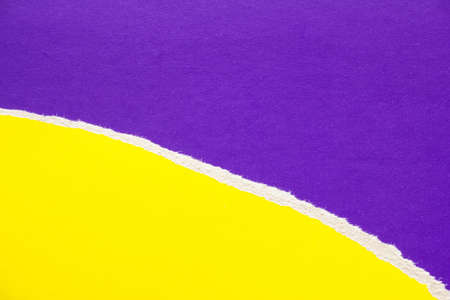 Yellow torn piece of cardboard on purple sheet of paper texture background. Can be used for text.