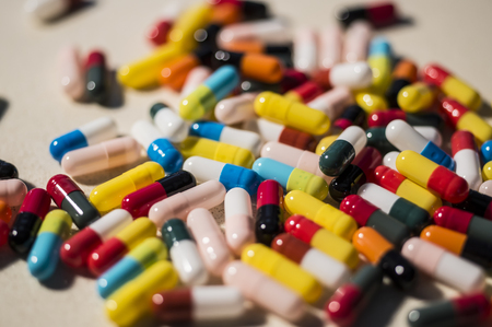dietary supplements: Variety of drug pills and dietary supplements Stock Photo