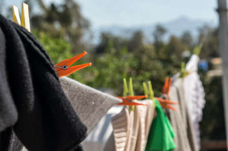 clothes hanging: Clothes hanging on a clothesline