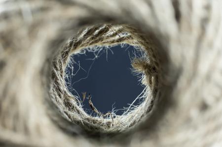 Inside a skein of jute twine