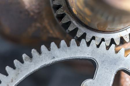 gear mechanism: Rustic gear mechanism closeup Stock Photo