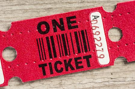 汎用パスまたは紙の当選券のマクロ撮影