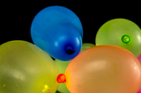 Close up shot of multi colored water balloons Stock Photo