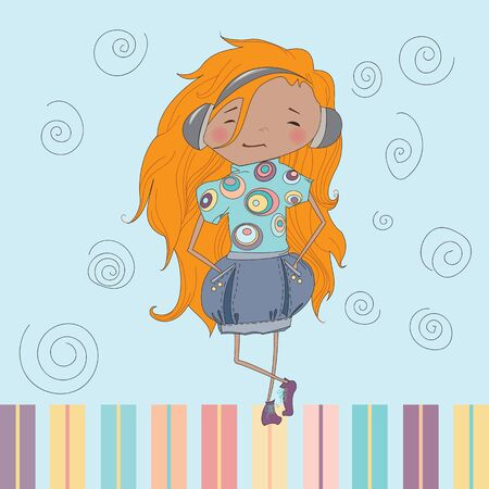 redheaded: Teenage redheaded girl listens music. Vector illustration