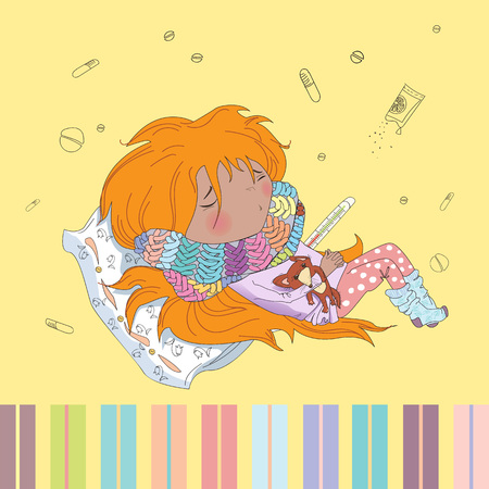 redheaded: Teenage redheaded girl is ill. Vector illustration
