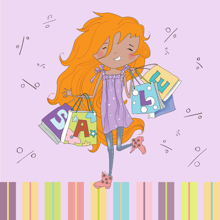 redheaded: Teenage redheaded girl shopping. Vector illustration