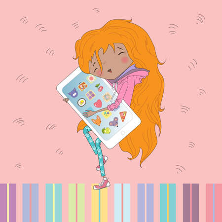 redheaded: Teenage redheaded girl hugging smart phone.Vector illustration