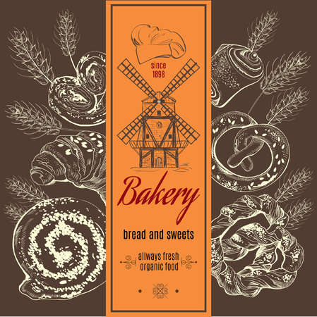 Vintage stile bakery banner with bakery products and mill. Vector illustrat