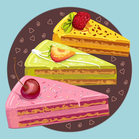 raspberry pink: Three color pieces of sweet cake with berries. Vector illustration
