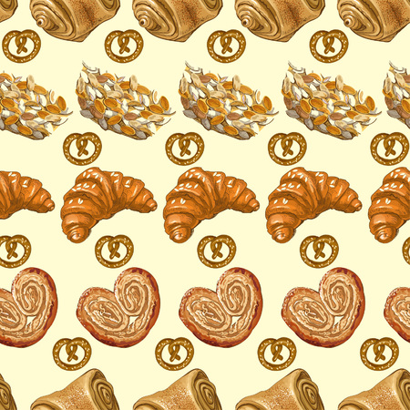 corn poppy: Seamless pattern with bakery products. Vector illustration. Illustration