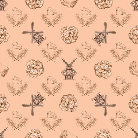 corn poppy: Seamless doodle pattern with mill. Vector illustration Illustration