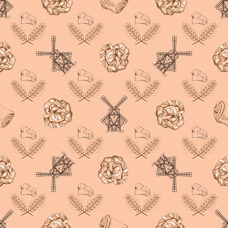 Seamless doodle pattern with mill. Vector illustration Illustration