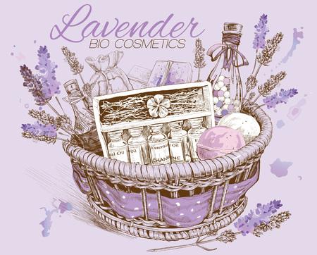 ラベンダーの自然化粧品のバスケット。  イラスト・ベクター素材