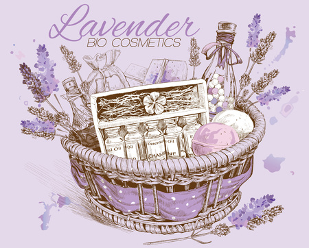 aromatherapy oil: Lavender natural cosmetics basket. Illustration