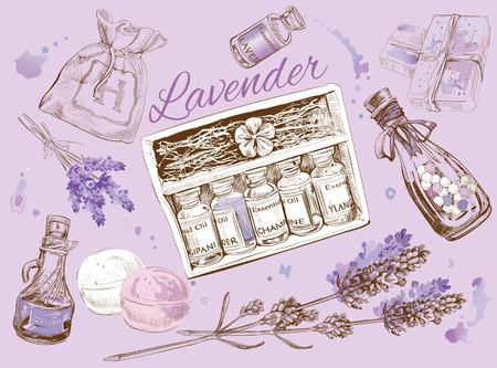 ラベンダーの自然な化粧品のセット。 写真素材 - 52577885