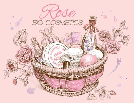 natural cosmetics: Rose natural cosmetics basket. Illustration