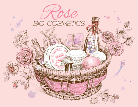 Rose natural cosmetics basket. Illustration