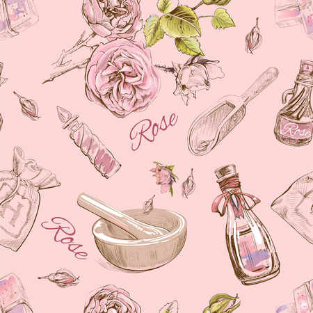 bath treatment: Rose natural cosmetic seamless pattern.