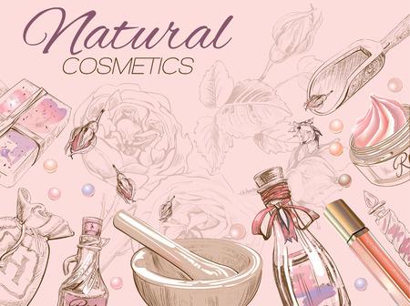 Rose natuurlijke cosmetische kaart. Stock Illustratie