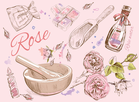 Rose natural cosmetic set.