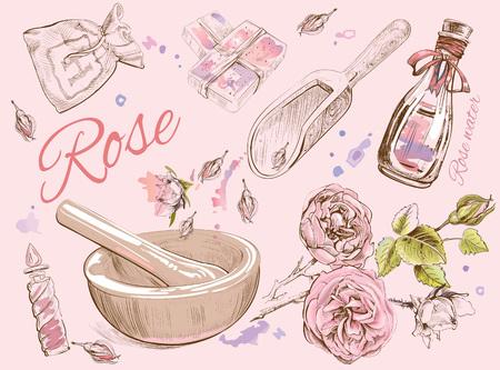 Rose natuurlijke cosmetica set. Stock Illustratie