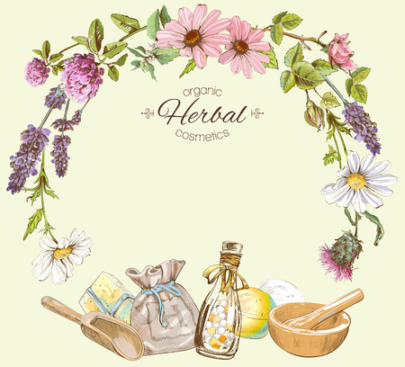 hair product: Vector vintage frame with wild flowers and herbs.Layout, mock up design for cosmetics, store, beauty salon, natural and organic products. Can be used like a greeting card.