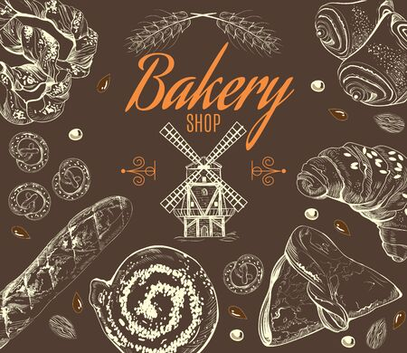 corn poppy: Vintage doodle set with different kinds of bakery production and mill on brown background. Vector illustration Illustration