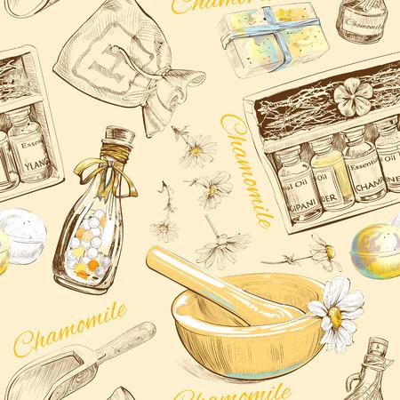 Manzanilla patrón transparente cosmética natural. ilustración vectorial Foto de archivo - 52898056