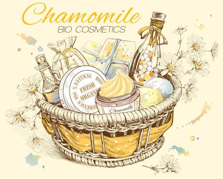 Kamille natuurlijke cosmetica mand. vector illustratie Stock Illustratie