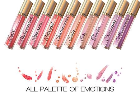 emozioni colorate lucentezza del labbro impostato su sfondo bianco. illustrazione di vettore