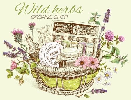 야생 꽃, 허브, 천연 제품으로 손으로 그린 바구니의 벡터 빈티지 템플릿입니다. 화장품, 상점, 미용실, 자연 및 유기 제품 디자인. 일러스트