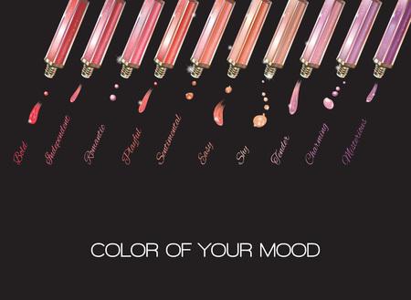 Gekleurde emoties lipgloss die op zwarte achtergrond. vector illustratie Stock Illustratie