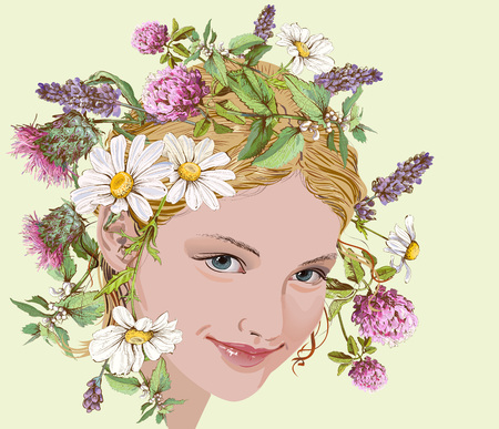 Boho style portrait of young beautiful woman with wild flowers and herbs wreath on her head. Can be used as boho chic or herbal treatment design. Ilustração