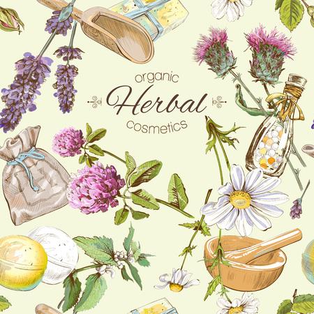 Vector naadloos patroon met wilde bloemen en kruiden. Achtergrond ontwerp voor cosmetica, winkel, schoonheidssalon, natuurlijke en biologische producten. Kan worden gebruikt als textuur, inpakpapier en stof printen