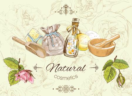 Vector naturale banner con fiori selvatici ed erbe. Disegno di sfondo per i prodotti cosmetici, magazzini, salone di bellezza, naturali e prodotti biologici. Può essere usato come logo design
