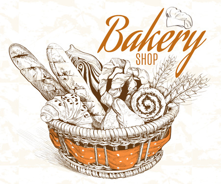 Vintage graphic style bakery basket. Vector illustration