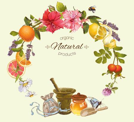 Vector vintage frame met honing, hibiscus, citroen en rose hip.Design voor thee, sap, natuurlijke cosmetica, bakken, snoep en snoep, kruidenier, producten voor de gezondheidszorg. Met plaats voor tekst. Stock Illustratie