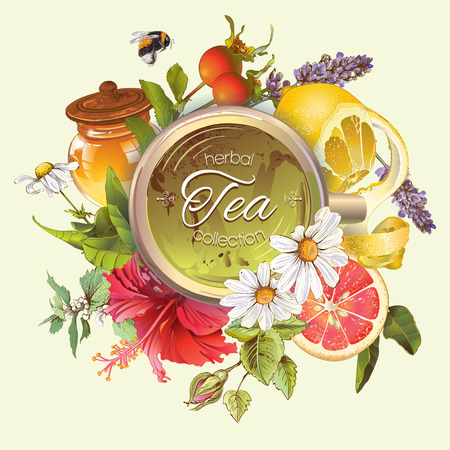 Vector vintage herbal banner with honey, hibiscus,lemon and rose hip.Design for tea, juice, natural cosmetics, baking,candy and sweets,grocery,health care products. With place for text.