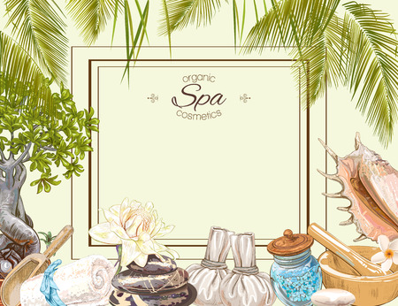massage herbal: Tropic style spa treatment colorful frame with lotus,shells, frangipani and stones .Design for cosmetics, store,spa and beauty salon,natural and organic health care products. Vector illustration. Illustration