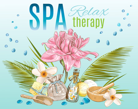 spa salon: Spa treatment banner.Design for cosmetics, store,spa and beauty salon, organic health care products. Can be used as logo design. Vector illustration.