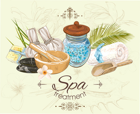 cosmetics bag: Spa treatment banner on graphic background.Design for cosmetics, store,spa and beauty salon, organic health care products. Can be used as logo design. Vector illustration.