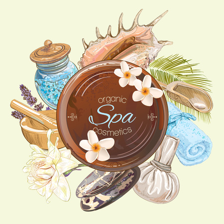 spa salon: Spa treatment round banner with lotus,shells, frangipani and stones.Design for cosmetics, store,spa and beauty salon, organic health care products. Can be used as  design. Vector illustration.