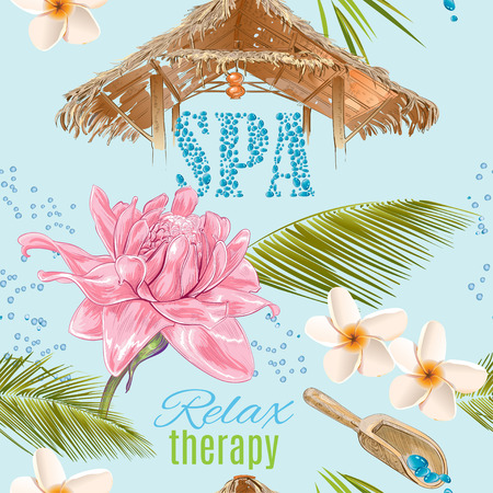 natural beauty: Tropic style spa treatment seamless pattern with lotus,shells and frangipani.Design for cosmetics, store,spa and beauty salon,natural and organic health care products. Vector illustration. Illustration