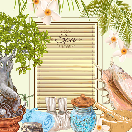 Tropic style spa treatment colorful frame with bonsai,shells, frangipani and stones .Design for cosmetics, store,spa and beauty salon,natural and organic health care products. Vector illustration. Çizim
