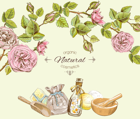 skin care products: Rose natural cosmetic round frame. Design for cosmetics, make up, store, beauty salon, natural and organic products. Vector illustration