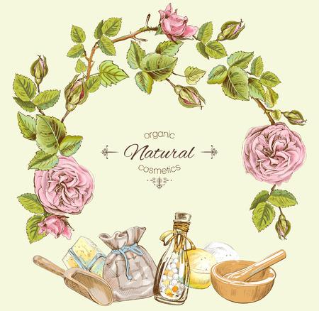 Rose natuurlijke cosmetische ronde frame. Ontwerpen voor cosmetica, make-up, op te slaan, schoonheidssalon, natuurlijke en biologische producten. vector illustratie