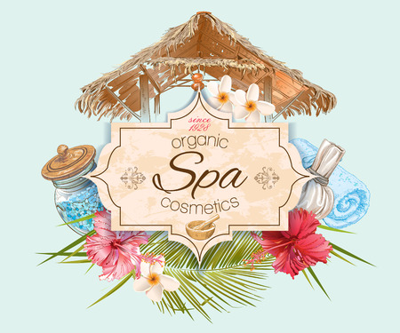 skin scrub: Spa treatment banner with lotus,hibiscus and bungalow roof. Design for cosmetics, store,spa and beauty salon, organic health care products. Can be used as  design. Vector illustration.