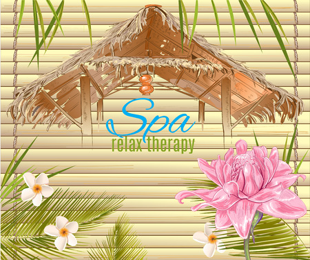 spa salon: Spa treatment banner with lotus and bungalow roof. Design for cosmetics, store,spa and beauty salon, organic health care products. Can be used as  design. Vector illustration. Illustration