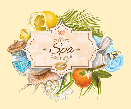 health beauty: Spa treatment banner with lotus,palm leaf and citrus fruits. Design for cosmetics, store,spa and beauty salon, organic health care products. Can be used as   design. Vector illustration.
