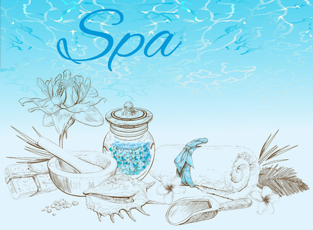 flower bath: Spa treatment banner on graphic background.Design for cosmetics, store,spa and beauty salon, organic health care products. Can be used as  design. Vector illustration.